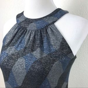 Elie Tahari • Metallic Geometric Navy Shift Dress